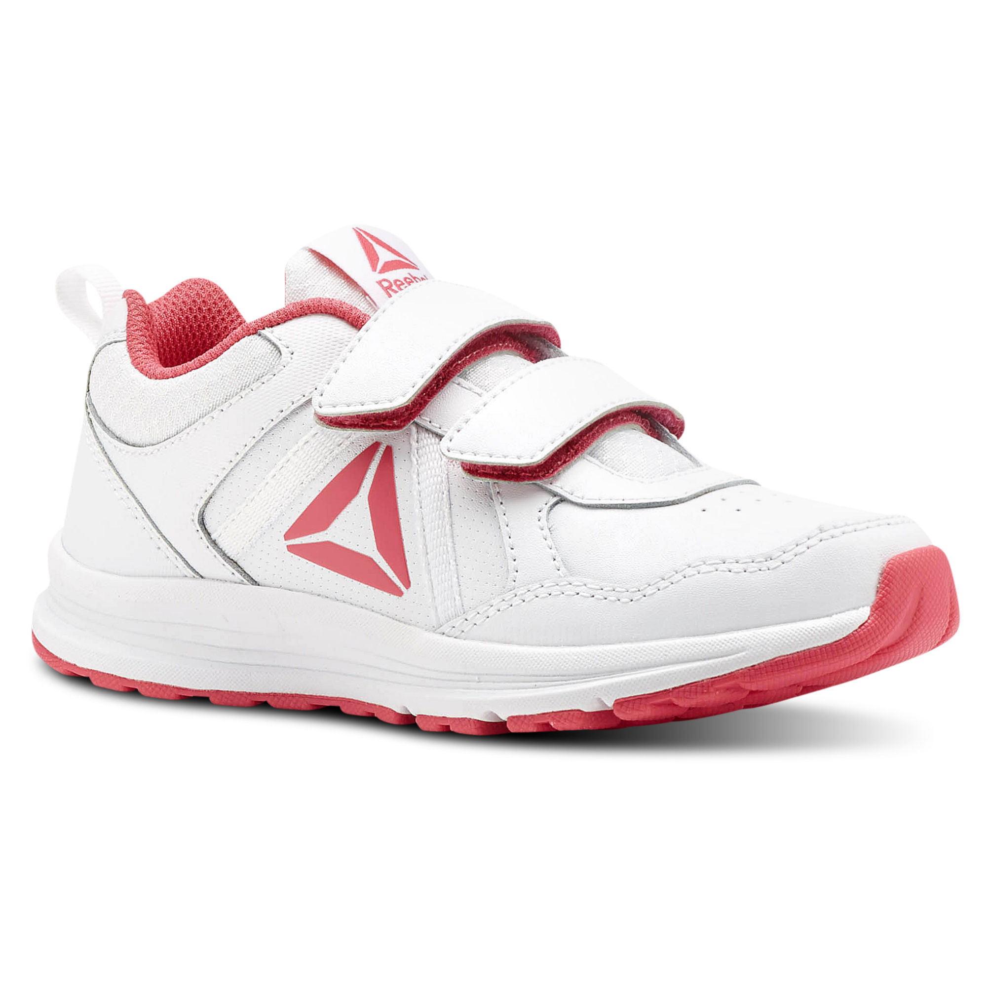 Reebok ALMOTIO 4.0 Girls White/Pink/Silver Running Shoes (335GSCNU)