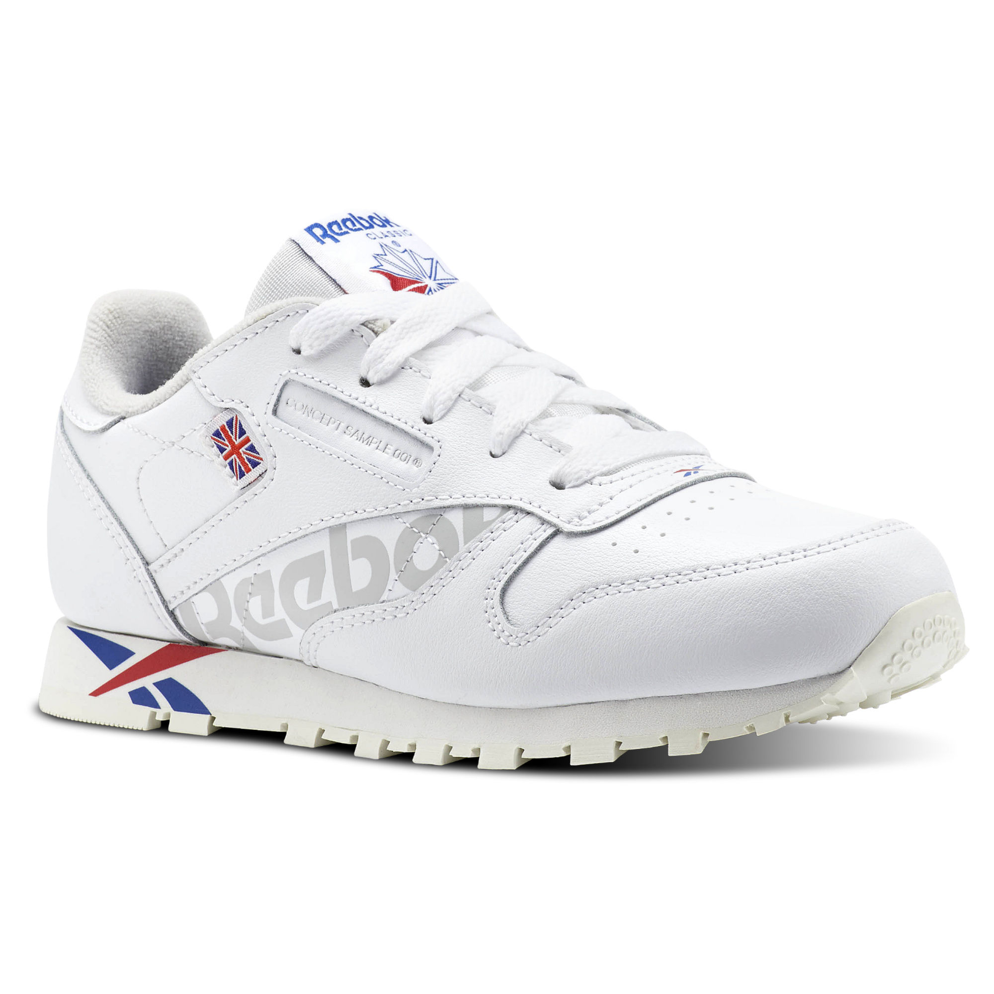 Reebok Classic Leather Boys White/Royal Dark/Red/White Sneakers (589CUIXJ)