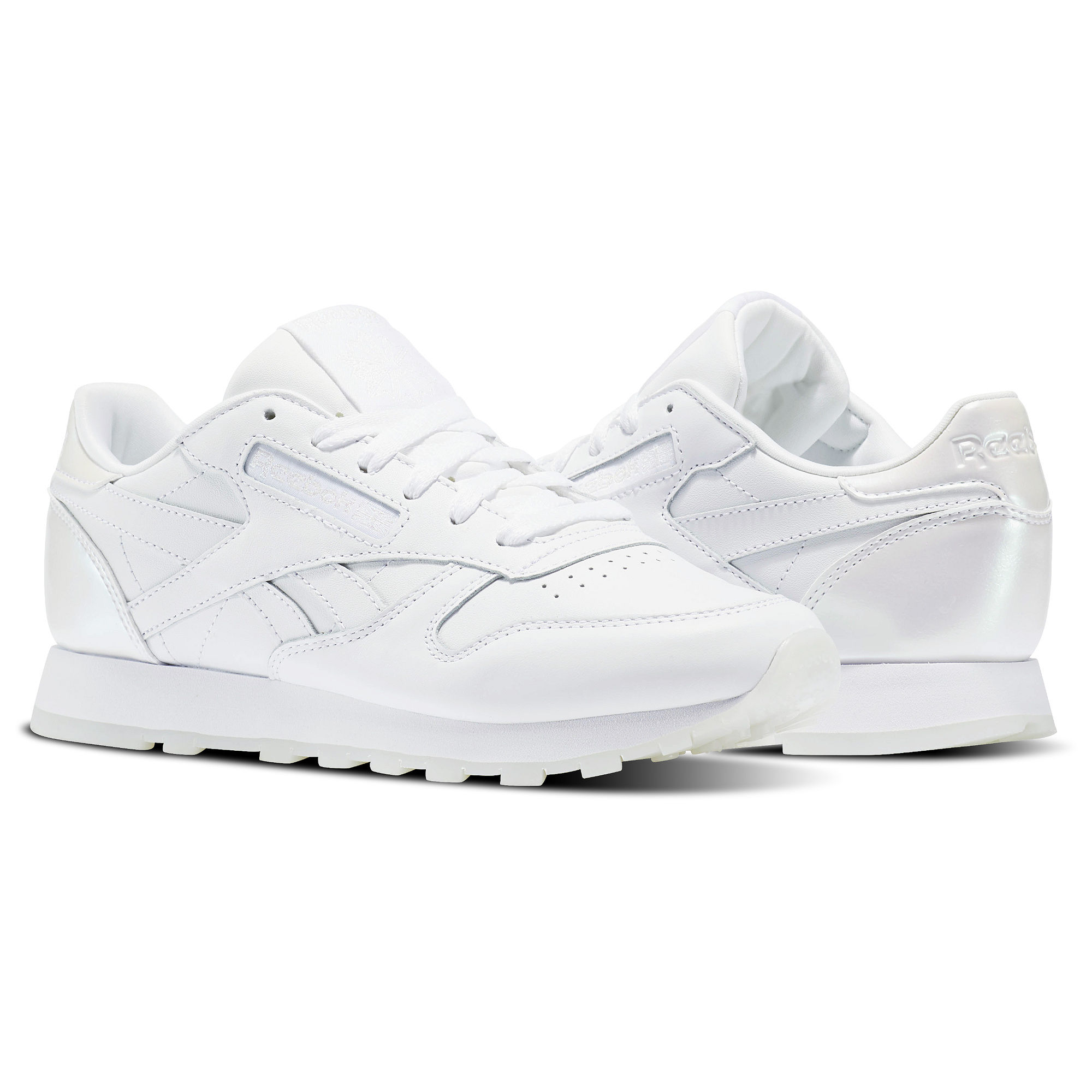 Reebok Classic Leather Melted Metals Womens White/White Sneakers (212XYVZK)