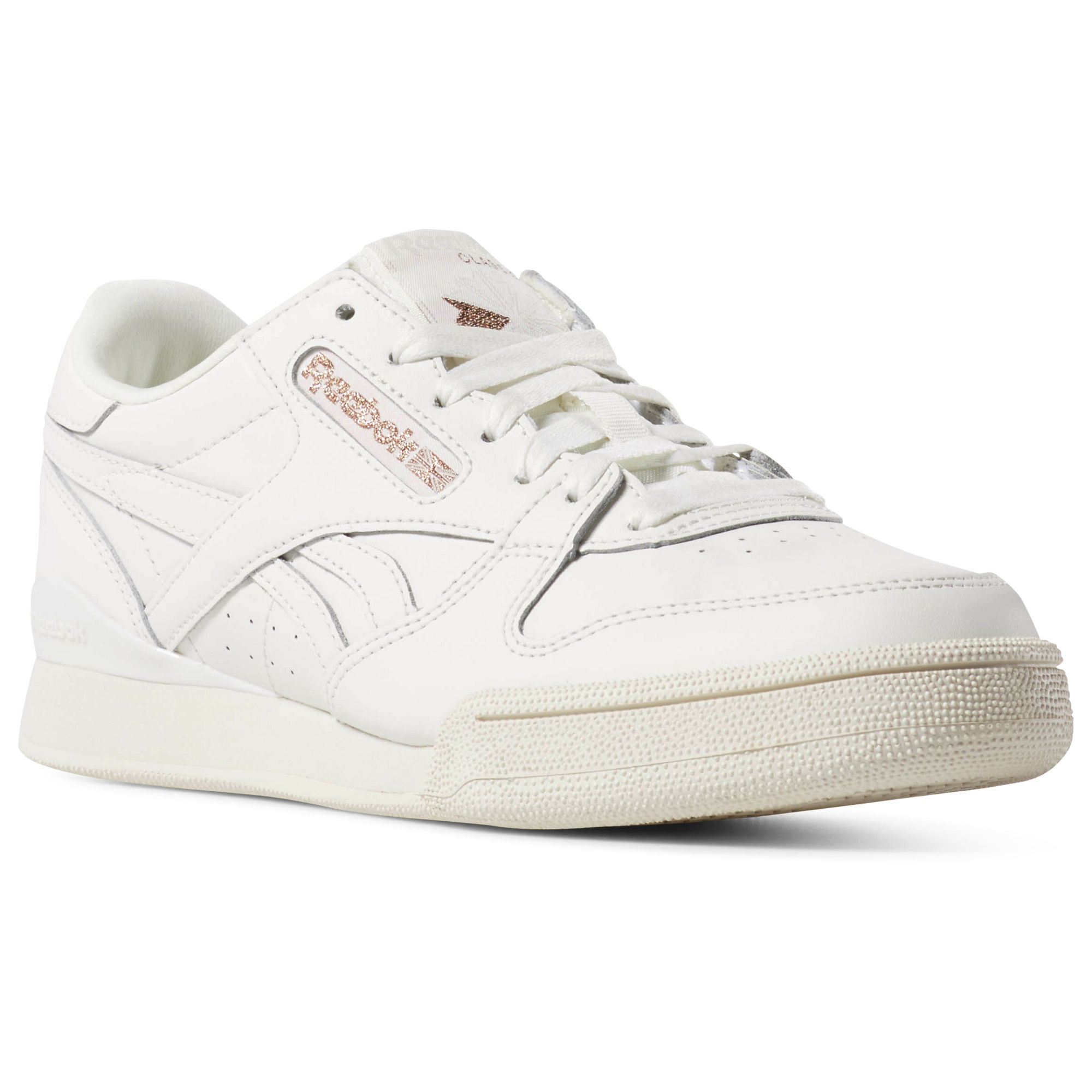 Reebok PHASE 1 PRO Womens Rose Gold/White Sneakers (747NJZKR)