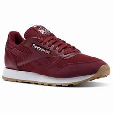 Reebok Classic Leather ESTL Mens Burgundy/White Sneakers (461CWZPE)