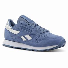 Reebok Classic Leather Womens Blue Stripes Sneakers (901SDARC)