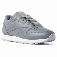 Reebok Classic Leather Womens Grey/Rose/White Sneakers (666KBNOY)