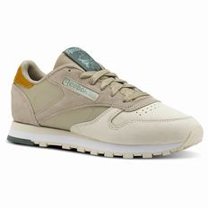 Reebok Classic Leather Womens Khaki Sneakers (254KQTVU)