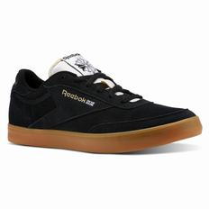 Reebok Club C Gum Womens Black/White/Gold Sneakers (320ZDMSX)