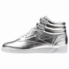 Reebok Freestyle Hi Metallic Womens Silver Metallic/Grey/White Sneakers High (763DETCO)