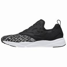 Reebok Furylite Slip On Gt Womens Black Silver/White Sneakers (238AZQLH)